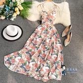沙灘裙 海邊巴厘島度假沙灘裙女神性感露背大擺裙收腰吊帶洋裝仙女長裙 2色
