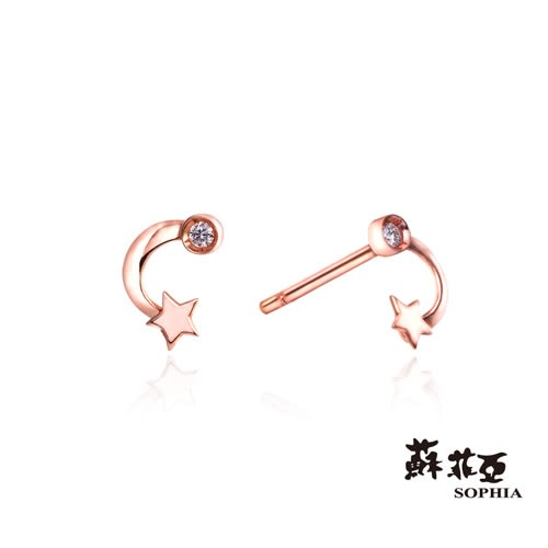 蘇菲亞SOPHIA -星月童話鑽石玫瑰金耳環