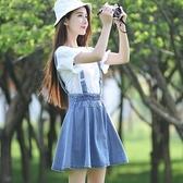 背帶裙2021新款少女學院風連身裙夏季 公主小清新背帶裙學生牛仔短裙子 雲朵