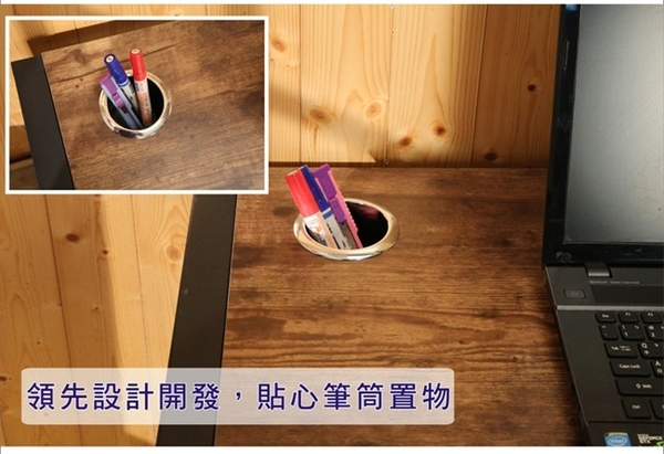 BuyJM LOFT低甲醛工業復古風防潑水98公分黑烤漆方框附插座筆筒工作桌/電腦桌會議桌/餐桌 I-B-DE079ZH