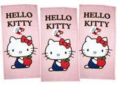 【卡漫城】 Hello Kitty 小毛巾 三條一組 粉色 ㊣版 童巾 洗臉巾 凱蒂貓 藍衣抱蘋果 Apple 台灣製