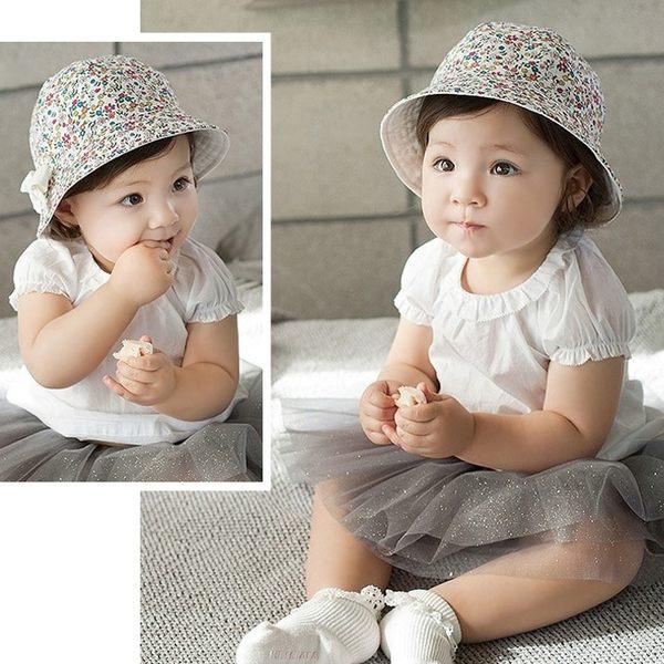 韓版《蝴蝶結小碎花》雙面載 小盆帽 遮陽帽