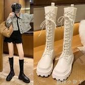 長靴女不過膝2020新款秋冬季加絨方頭厚底粗跟高筒襪靴長筒騎士靴 蘿莉新品