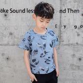 男童上衣 男童短袖t恤韓版夏季個性潮流上衣中大兒童夏裝條紋體恤 傾城小鋪