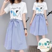 兩件式洋裝 夏季連身裙女裝小清新半身裙子氣質女神范學生兩件套裝裙【風之海】