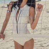 新款泳衣女小高領深V后背遮肚顯瘦保守時尚小胸聚攏三角連體泳衣 森活雜貨