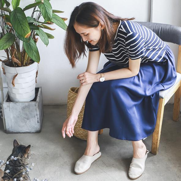 [超豐國際]W    休閑減齡 條紋 全棉 寬松款連衣裙 女