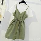 時尚套裝裙子大碼女洋裝2020新款微胖女孩mm穿搭洋氣顯瘦兩件式連身裙 DR35616【Pink 中大尺碼】
