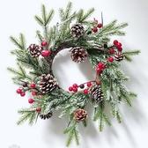 聖誕花環  新款聖誕花環pe手工粘白藤圈店鋪壁掛櫥窗布置用品花圈聖誕裝飾品【快速出貨】