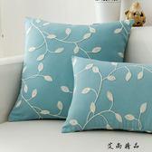 現代中式棉麻刺繡紅木沙發抱枕