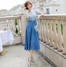大尺碼洋裝 L-5XL 雪紡V領收腰蕾絲拼接顯瘦連衣裙 #wm1053 @卡樂@