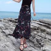 雪紡半身裙 夏季新款海邊度假沙灘長裙一片式系帶半身裙碎花半身裙女 DJ9393『易購3c館』