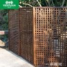 碳化防腐木柵欄玄關木隔斷拉網木圍欄木花架籬笆網格花架攀爬架WD 一米陽光