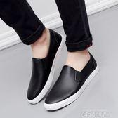 新品黑色防水皮面樂福鞋英倫休閒軟皮鞋懶人鞋一腳蹬帆布男鞋潮鞋 依凡卡時尚