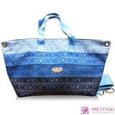MOSCHINO 莫斯奇諾 藍色漸層LOGO購物包(65.6X23.5X32.5CM)-公司貨【美麗購】