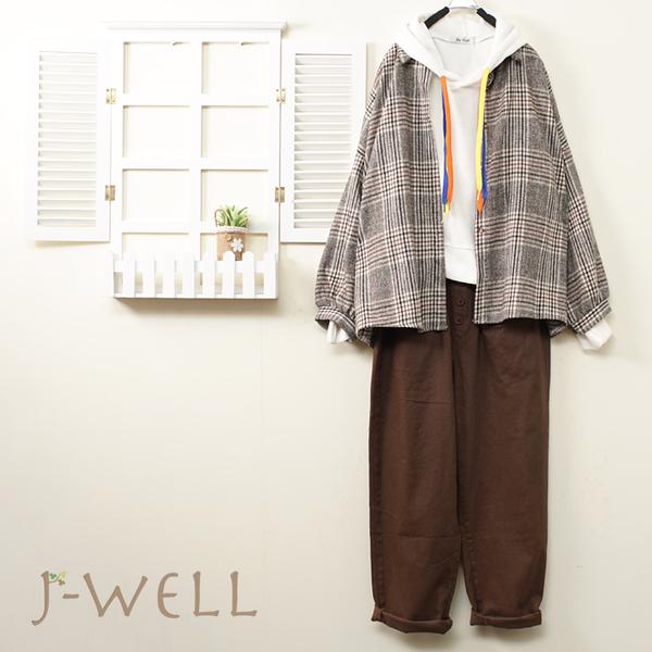 J-WELL 格紋襯衫配色穿繩連帽上衣男友褲三件組(組合B029 9J1024灰+9J1143白+9J1062咖)