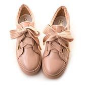 amai織帶啾-厚底休閒鞋 粉