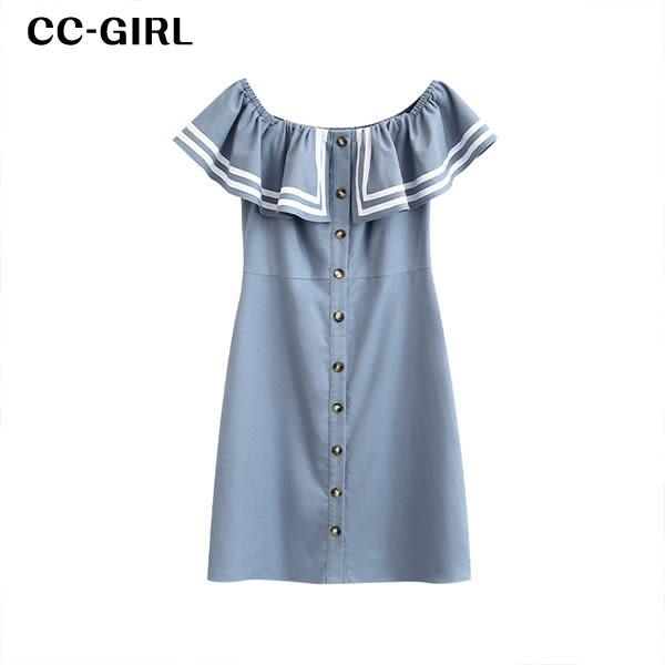 中大尺碼 露肩一字領排釦洋裝~共兩色 - 適L~3L《 19285H 》CC-GIRL