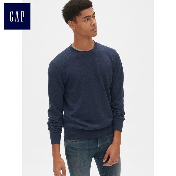 Gap男裝 基本款圓領套頭長袖針織衫 男士亞麻毛衣潮 440271-混合海軍藍