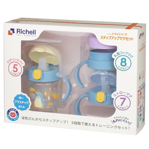 Richell 利其爾 萌答答三階段水杯禮盒組 200ml TLI水杯 嬰兒禮盒 1315