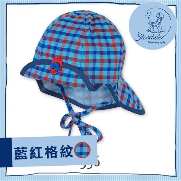抗UV兩用護頸遮陽童帽-藍紅格紋(41-51cm) STERNTALER C-1601635-356