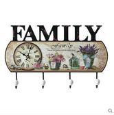 美式鄉村田園藝術掛鐘裝飾掛鉤 門廳衣帽掛鉤玄關掛衣架壁掛鐘表(B款)