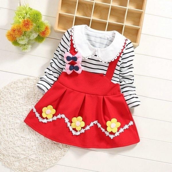 超低折扣NG商品~ 長袖洋裝 假兩件連身裙 洋裝 女寶寶 童裝 SG1043 好娃娃