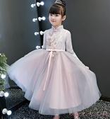 小花童禮服女童兒童公主加厚蓬蓬紗裙主持人鋼琴演出服元旦秋冬季XL1949【Rose中大尺碼】