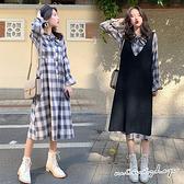孕婦裝 MIMI別走【P31366】英倫的浪漫邂逅 兩件式 螺紋背心裙+格紋連身裙 孕婦洋裝 長裙