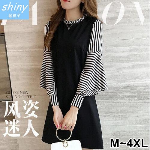 【V2094】shiny藍格子-微秋甜氛‧條紋拼接荷葉袖中長款連身裙