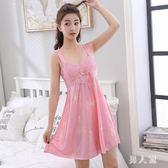 吊帶睡衣女性感冰絲長款可外穿可愛蕾絲綢寬鬆孕婦大碼睡裙 zm4690『男人範』