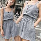 格子排扣背心+寬短褲 兩件套/套裝 2色【D927520】
