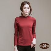 【岱妮蠶絲】立領色織條紋長袖上衣(暗紅)