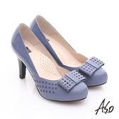 A.S.O 優雅時尚 真皮幾何沖孔蝴蝶結飾高跟鞋 藍