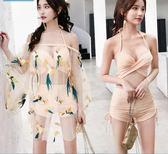 正韓泳衣女三件式小香風比基尼分體平角小胸聚攏保守泡溫泉游泳衣