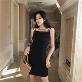 復古韓國chic風一字領雙肩帶顯瘦黑色吊帶連衣裙氣質包臀打底裙女