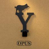 OPUS 歐式鐵藝壁飾掛勾/無痕掛鉤(當貓咪遇上字母Y)黑