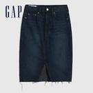 Gap女裝 時尚做舊直筒型牛仔短裙 617010-深色水洗