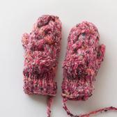 甜美混色針織手套女冬天可愛韓版卡通連指加絨加厚保暖毛線手套