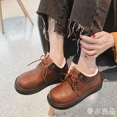 韓國日繫軟妹小皮鞋女學院風加絨保暖圓頭厚底大頭娃娃鞋