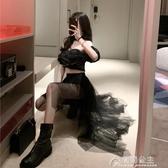 網紗裙-設計感前短后長不規則網紗裙子女夏季新款韓版黑色高腰半身裙 花間公主