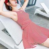 游泳衣女連身平角遮肚顯瘦保守小胸聚攏裙式學生紅泡溫泉性感泳裝