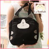 手提包~Le Baobab日系貓咪包 啵啵貓黑貓經典款式中手提包/肩背包/側背包/拼布包包