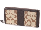 【晉吉國際】COACH F51770 全新正版女用長型皮夾進口防水防緹花布+皮革材質拉鍊包覆型主袋不折鈔