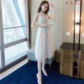 中長款蕾絲連身裙女韓版收腰裙子