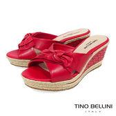 Tino Bellini 巴西進口雙層紐結皮雕楔型涼拖鞋 _ 紅 A83056 歐洲進口款