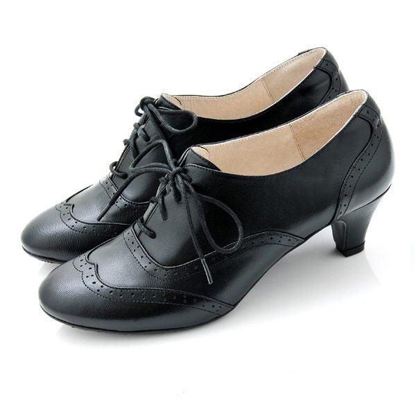 全真皮復舊牛津低跟踝靴-炭黑‧karine(MIT台灣製)