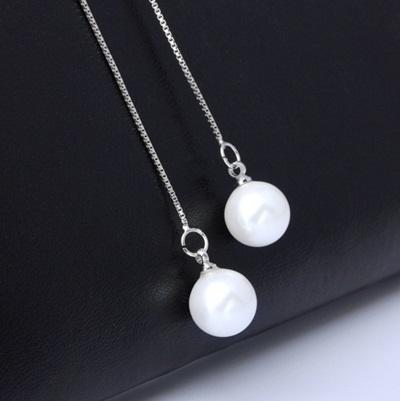 925純銀耳環(耳針式)珍珠-長款氣質垂吊式生日情人節禮物女耳飾73ac72[巴黎精品]