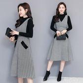 新款針織套裝時尚千鳥格子毛呢連衣裙毛衣背心裙兩件套 GB6532『科炫3C』