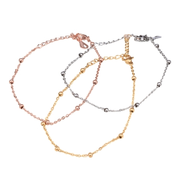 316L醫療鋼 小圓珠相間 極細腳鍊-金、銀、玫瑰金 防抗過敏 不退色